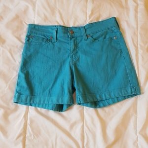 Signature by Levi Strauss Teal Jean Shorts Size 4